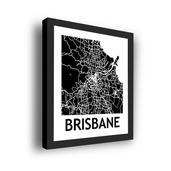 11_Acrylic Black_3D Maps Template_Brisbane Framed