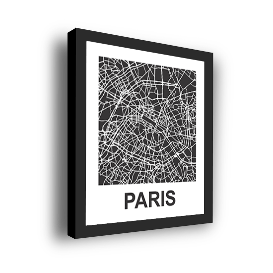 11_Acrylic Black_3D Maps Template_Paris Framed